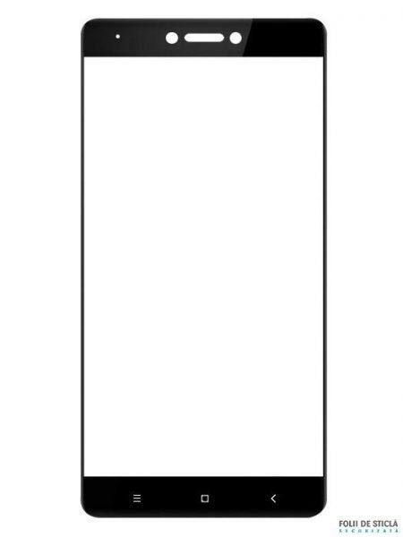 Folie curbată 5D din sticlă securizată pentru Xiaomi Redmi Note 4X NEGRU - Full glue