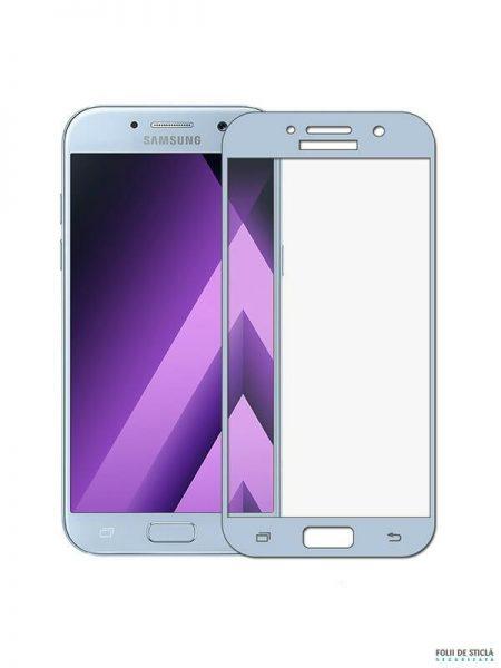 Folie curbată 3D din sticlă securizată pentru Samsung Galaxy A3 (2017) BLUE (Full cover)