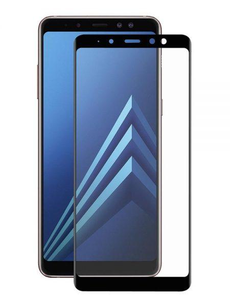 Folie curbată 3D din sticlă securizată pentru Samsung Galaxy A8+ (2018) NEGRU (Full cover)