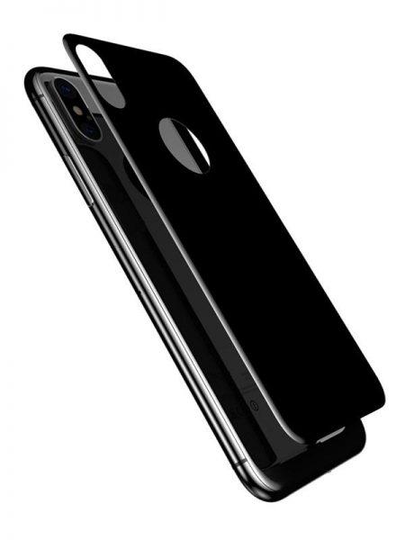 Folie 5D din sticlă securizată pentru iPhone XS Max - SPATE - NEGRU