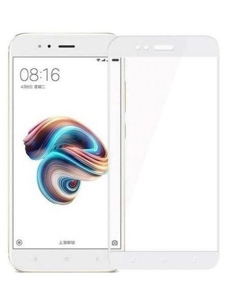 Folie curbată 5D din sticlă securizată pentru Xiaomi Mi A1 ALB - Full glue