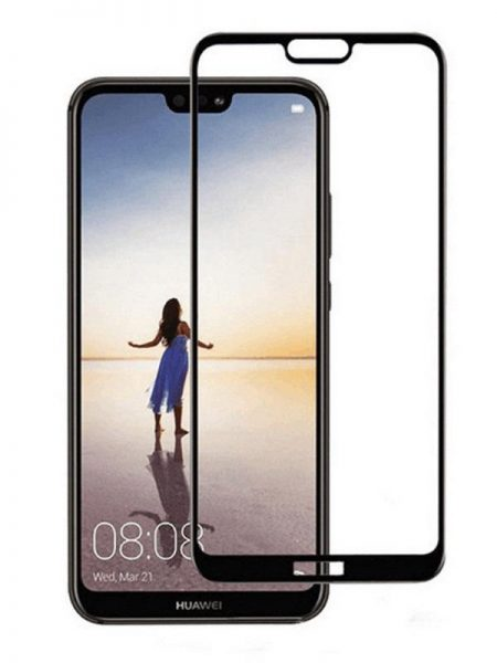 Folie curbată 5D din sticlă securizată pentru Huawei P20 Lite NEGRU - Full glue