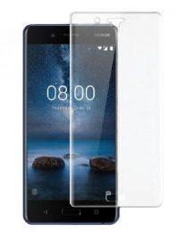 Folie curbată 3D din sticlă securizată pentru Nokia 8 TRANSPARENT (full cover)