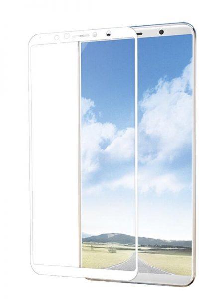 Folie curbată 5D din sticlă securizată pentru Vivo X20 ALB - Full glue