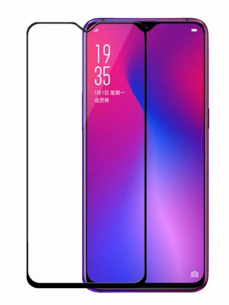 Folie curbată 5D din sticlă securizată pentru Oppo F9 NEGRU - Full glue