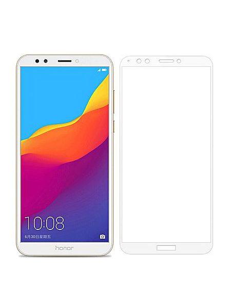 Folie curbată 5D din sticlă securizată pentru Huawei Y7 / Y7 Prime (2018) ALB - Full glue