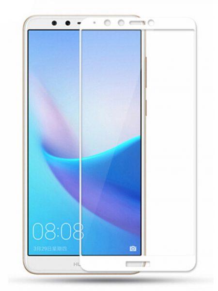 Folie curbată 5D din sticlă securizată pentru Huawei Y9 (2018) ALB - Full glue