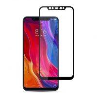 Folie ușor curbată 5D din sticlă securizată pentru Xiaomi Mi 8 NEGRU - Full glue