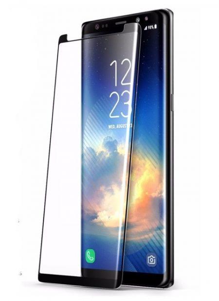 Folie curbată 3D din sticlă securizată pentru Samsung Galaxy Note9 NEGRU -FULL GLUE (Case-compatible)