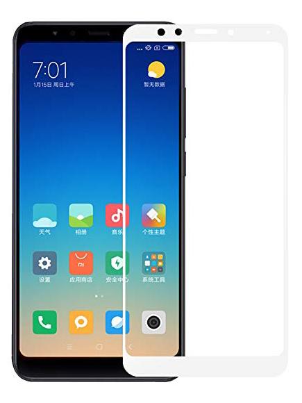 Folie curbată 5D din sticlă securizată pentru Xiaomi Redmi 5 ALB - Full glue