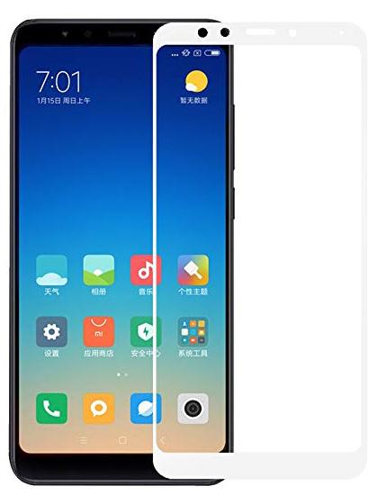 Folie curbată 5D din sticlă securizată pentru Xiaomi Redmi 5 Plus ALB - Full glue