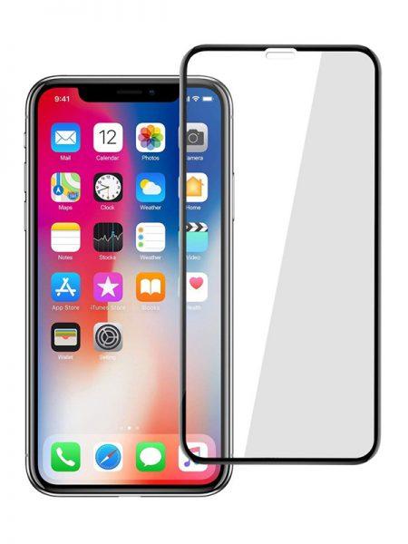 Folie curbată 5D din sticlă securizată pentru iPhone XS Max - NEGRU