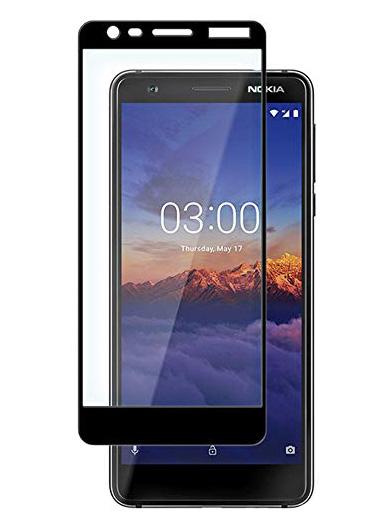 Folie curbată 3D din sticlă securizată pentru Nokia 3.1 NEGRU (full cover)