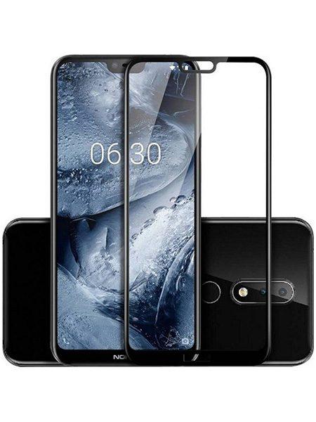 Folie curbată 5D din sticlă securizată pentru Nokia 6.1 Plus (X6) NEGRU - Full glue