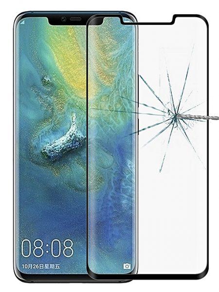Folie curbată 3D din sticlă securizată pentru Huawei Mate 20 Pro NEGRU - FULL GLUE (full cover)