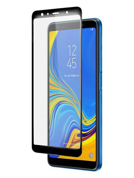 Folie curbată 5D din sticlă securizată pentru Samsung Galaxy A7 (2018) NEGRU - Full glue