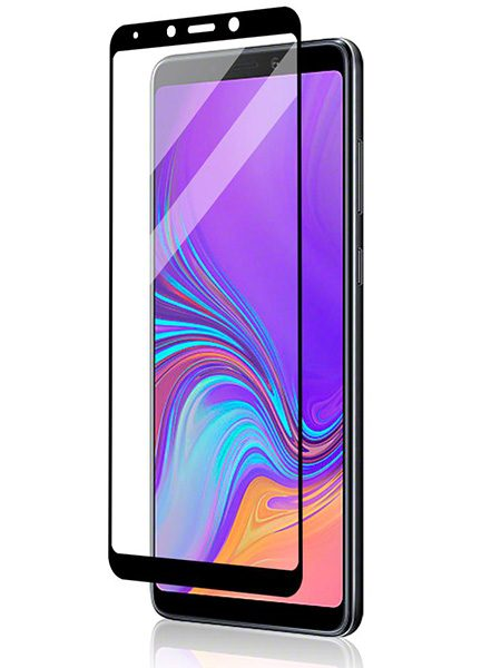 Folie curbată 5D din sticlă securizată pentru Samsung Galaxy A9 (2018) NEGRU - Full glue