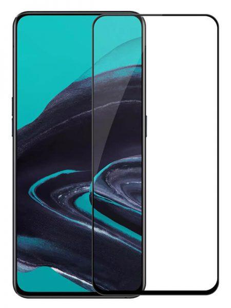 Folie curbată 5D din sticlă securizată pentru Oppo Reno 2 NEGRU - Full glue