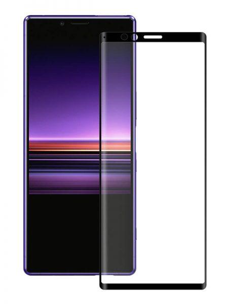 Folie curbată 5D din sticlă securizată pentru Sony Xperia 1 NEGRU - Full glue