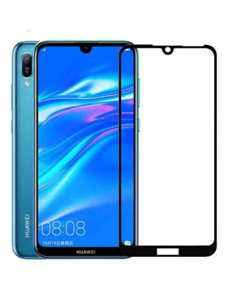 Folie curbată 5D din sticlă securizată pentru Huawei Y6 / Y6 Pro (2019) NEGRU - Full glue