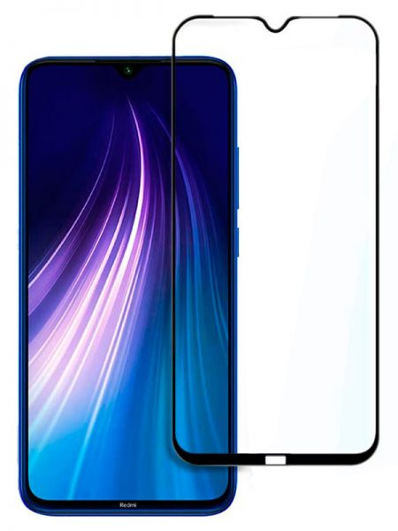 Folie curbată 5D din sticlă securizată pentru Xiaomi Redmi Note 8 / 8T NEGRU - Full glue