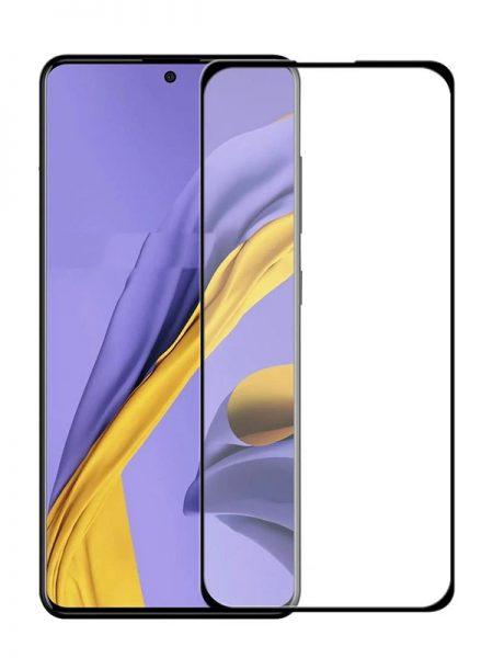 Folie ușor curbată 5D din sticlă securizată pentru Samsung Galaxy A51 NEGRU - Full glue