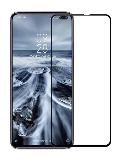 Folie curbată 5D din sticlă securizată pentru Xiaomi Redmi K30 / K30 5G / Poco X2 NEGRU - Full glue