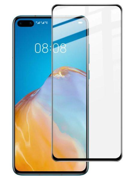 Folie curbată 5D din sticlă securizată pentru Huawei P40 NEGRU - Full glue