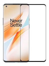 Folie curbată 3D din sticlă securizată pentru OnePlus 8 NEGRU - FULL GLUE (full cover)