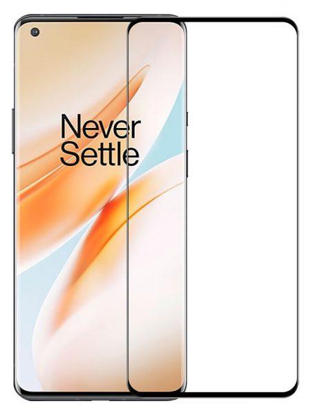 Folie curbată 3D din sticlă securizată pentru OnePlus 8 Pro NEGRU - FULL GLUE (full cover)