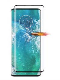 Folie curbată 3D din sticlă securizată pentru Motorola Edge NEGRU - Full cover