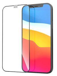 Folie Fullscreen 9D din sticlă securizată pentru iPhone 12 /12 Pro - NEGRU - Full glue